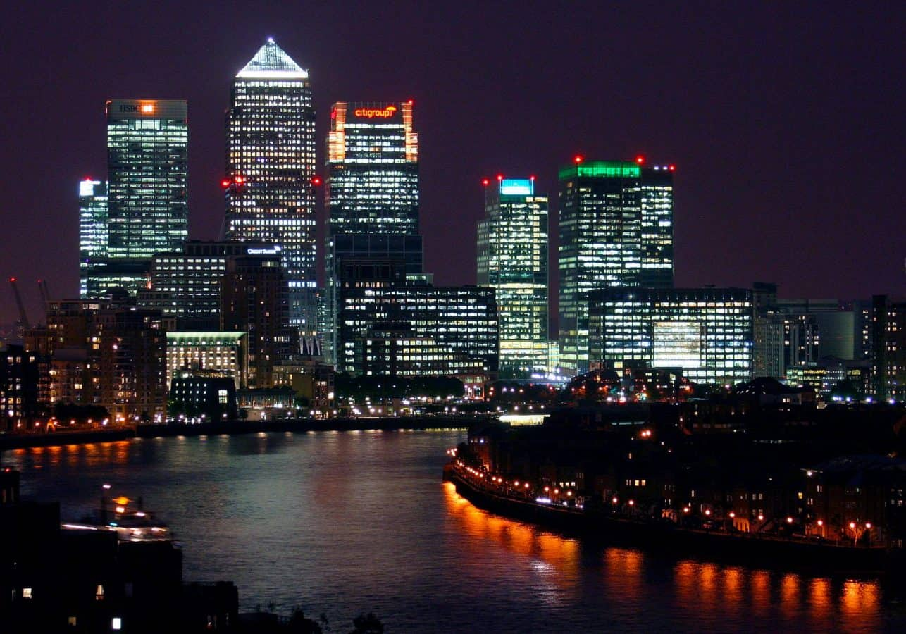 Canary Wharf at night, viewed from Shadwell.