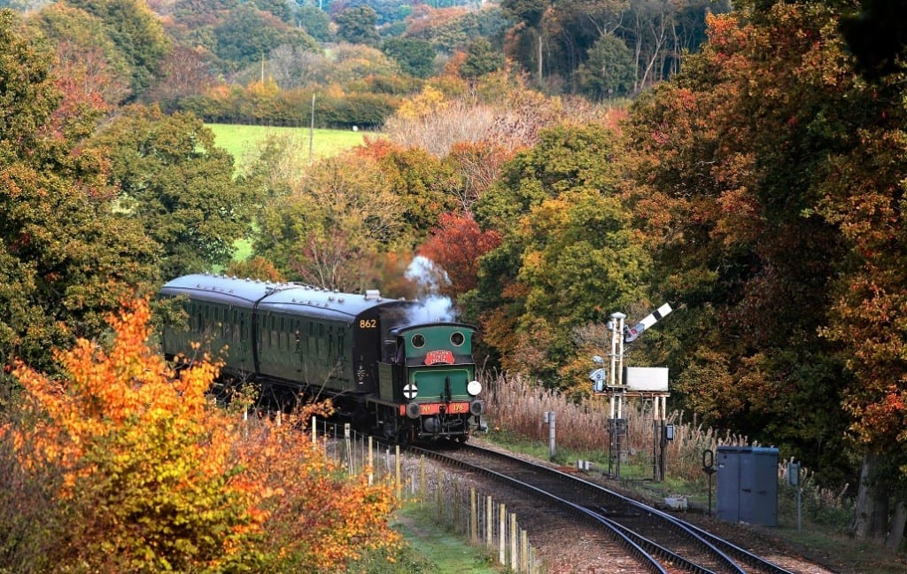 DK3DY0 The Autumn Tints Special steams towards Horsted Keynes station on The Bluebell Railway in East Sussex.