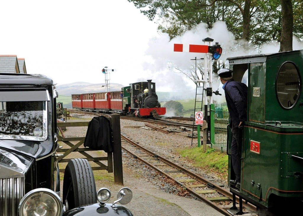 EN57FN Three Steam Engines Sid Axe and Lilla in one view at Woody Bay Station, with a classic Rolls Royce Lynton and Barnstaple Railway