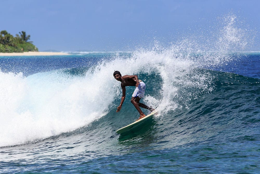 Surfing on Hulimendhoo Island in the Laamu Atoll, Maldives. Pic: Marc Zaalberg