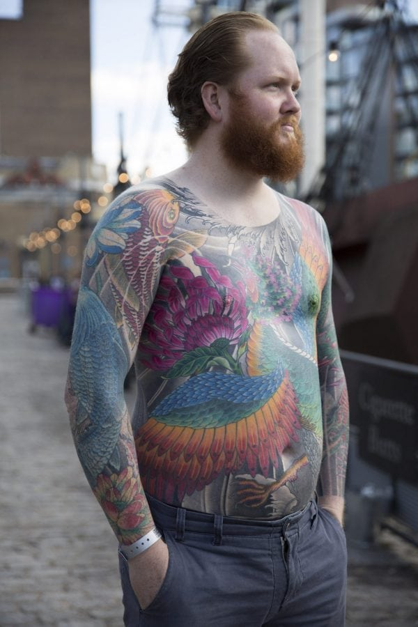 Tattoo enthusiast from Norway, Lasse Risvik, at the London Tattoo convention in Shadwell, East London. . 23 September 2016.