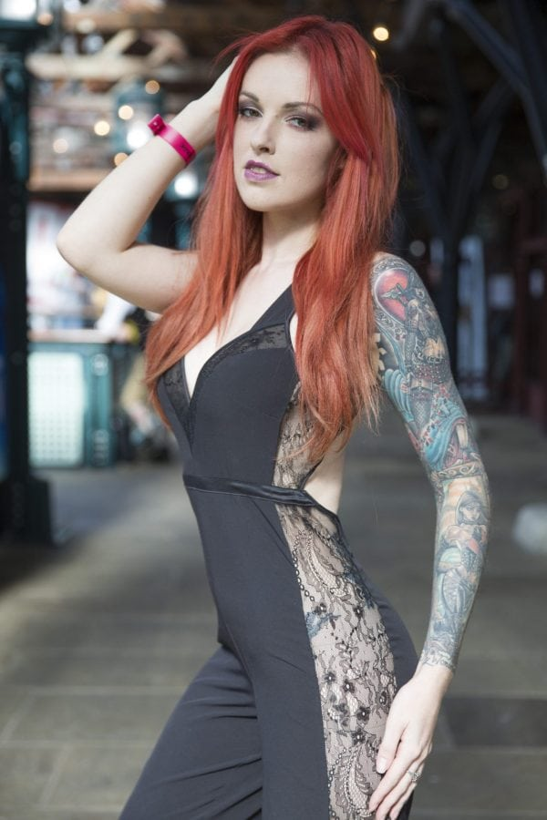 Tattoo enthusiast, Anna Quinn , at the London Tattoo convention in Shadwell, East London. . 23 September 2016.