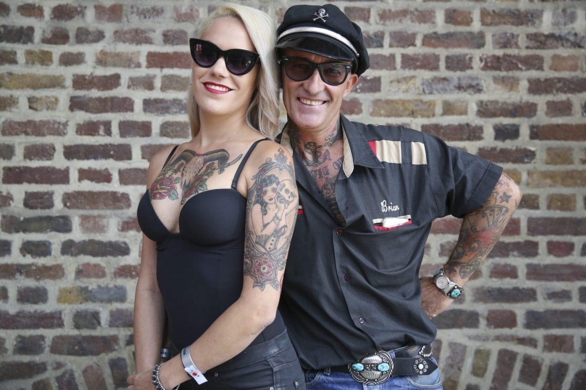 Tattoo enthusiasts, Laura Frugoni and Ivan Saugar, at the London Tattoo convention in Shadwell, East London. . 23 September 2016.