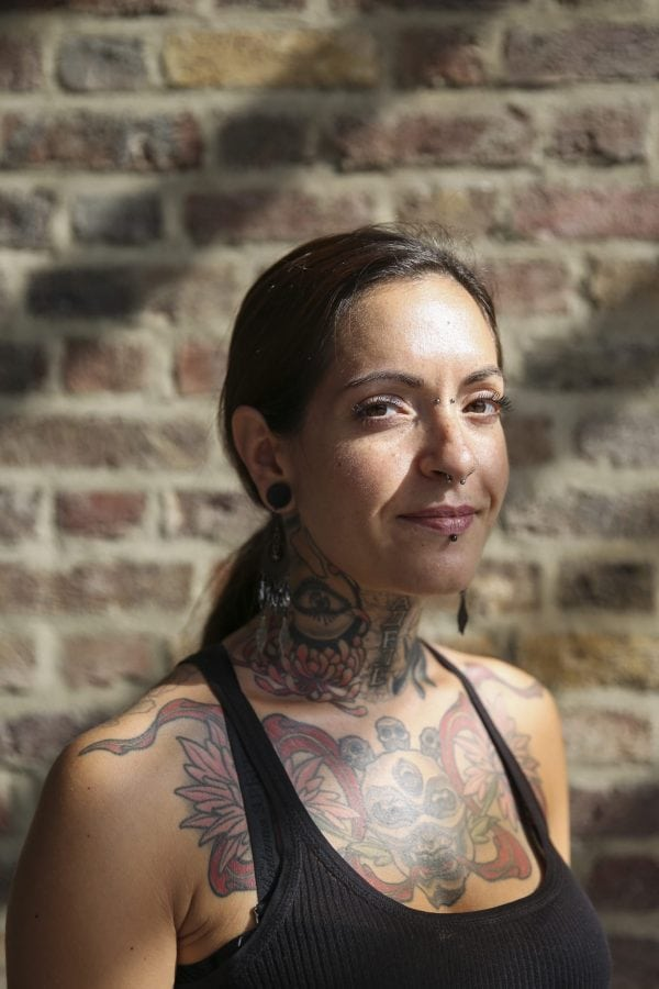 Tattoo enthusiasts, Helene Clamert from Paris, at the London Tattoo convention in Shadwell, East London. . 23 September 2016.