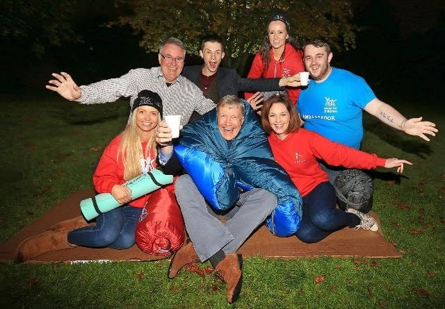 Byte Night Belfast 2015. Pictured: Sir Tony hawked (CEO) with Paul Hanna (Chair Byte Night Belfast), Joel Mawhinney (mentalist), Eva Adams (Aurora Events), Laura Doyle (service co ordinator supported lodgings), Laura Stockton (Action for Children), Alex Burke (Action for Children) JC15