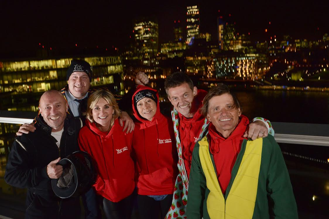 ###- HANDOUT - IMAGERY FREE TO USE -###02/10/15.BYTE NIGHT 2015 AT MORE LONDON RIVERSIDE, TOWER BRIDGE.Jenny Agutter, Anthea Turner, Richard Farleigh, Matthew Wright, Addison Gelpey and the original Stig, Perry McCarthy, get ready for a cold night sleeping out in aid of Action for Children's Byte Night fundraiserCredit: Daniel Lynch07941 594 556.www.lynchpix.co.uk