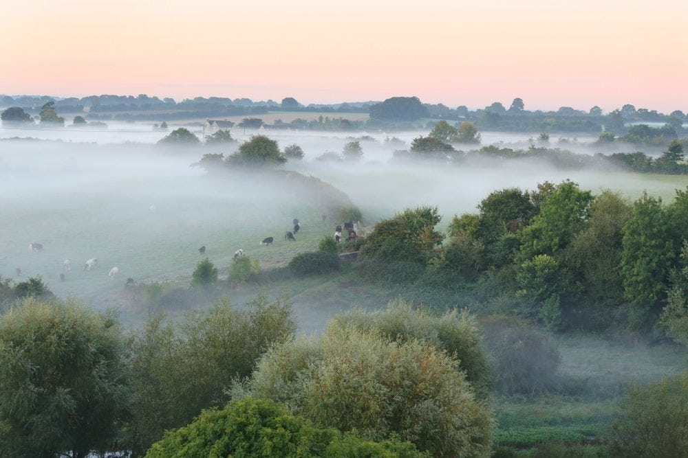 The view this morning from the hilltop town of Malmesbury, Wiltshire, as mist rises from farmland after temperatures dropped to near freezing overnight, October 10 2016.