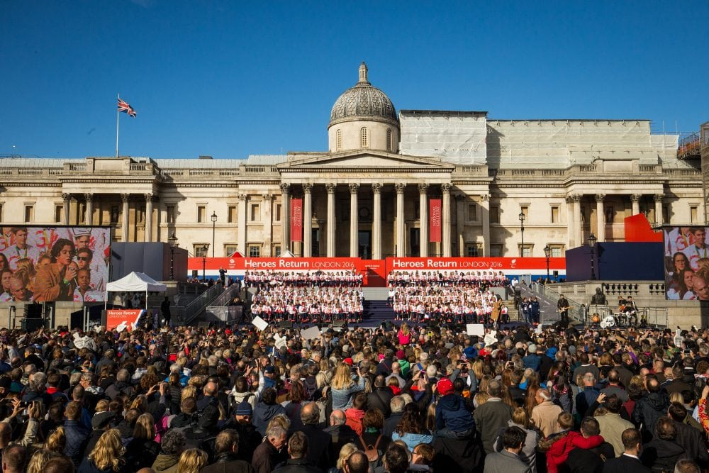 Thousands of people pack into Trafalgar square for the London Heroes return event for the Great Britain Olympic team, London. 18 October 2016.