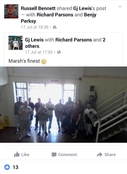 ***Picture taken without permission*** A group of inmates at HMP Guys Marsh in Dorset. Inmates jailed for murder, drug dealing and bank robbery are drinking booze, taking drugs and getting takeaways delivered to their prison cells. See National story NNLAGS; The group of lags even post pictures on social media bragging about flouting the laws banning prisoners from luxuries such as playing games consoles and brewing home-made vodka. In one post by Callum Morris he boasts of sticking a syringe in the buttocks of Richard Parsons, who is currently serving a life sentence for the brutal murder of his 17-year-old girlfriend, Jade Blundell in 2003 with a Gurkha knife. He stabbed her 14