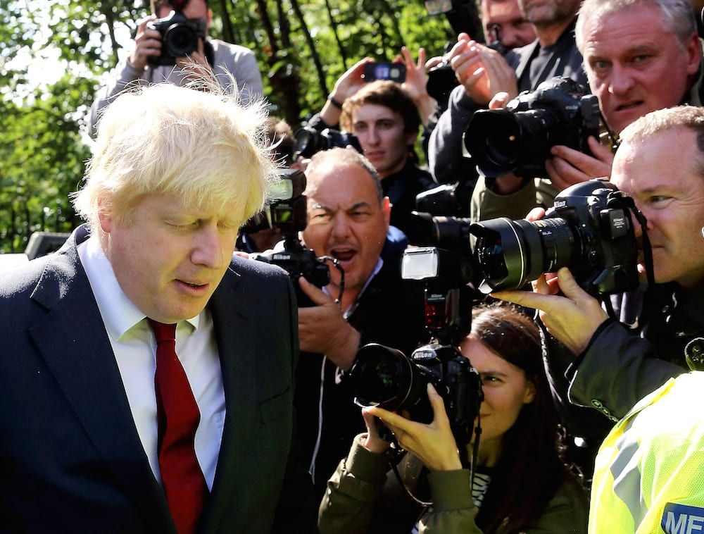 """Brexit campaigner Boris Johnson leaves his home in London on the morning after the EU Referendum when the British public voted 52% - 48% to leave the European Union. June 24, 2016.  Prime Minister David Cameron has announced he will step down by October after the vote.  In a statement outside Downing Street, he said he would attempt to """"steady the ship"""" over the coming weeks and months but that """"fresh leadership"""" was needed."""