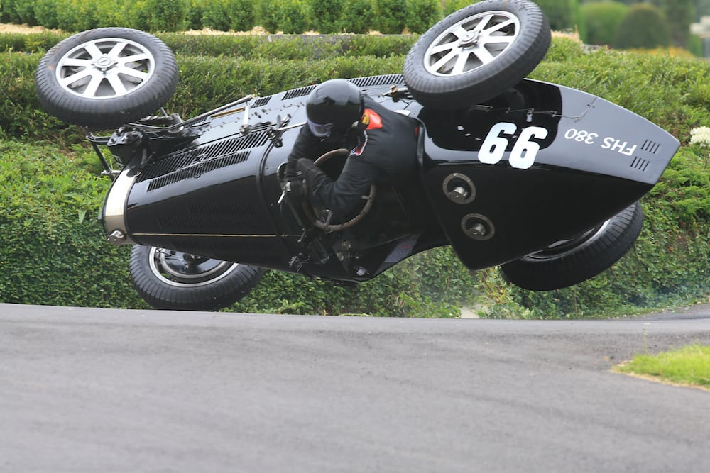 Edmund Burgess trapped in the Bugatti Type 51 as it overturned during the Chateau Impney Hill Climb. Edmund Burgess was trapped underneath his Bugatti Type 51 after it overturned during practice for this weekend's Chateau Impney hill-climb. Marshals righted the car and he walked to the waiting ambulance.