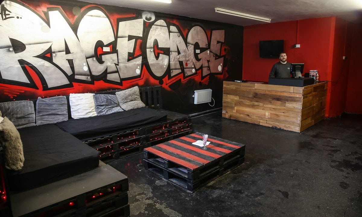 Zaac Spencer, owner of the Rage Cage, Brinsley, Notts, where members of the public can pay to smash things up. See Newsteam story NTIRAGE: A former fork-lift truck driver is hoping his new venture will be a smash hit by charging customers up to £35 to destroy household items with bats and hammers. The bizarre attraction - in a disused church - offers children and adults the chance to take out their anger on electronics, crockery and glassware.  Customers pay up to £35 to spend 20 minutes smashing items with either a baseball bat, crowbar or hammer. The business was set up by Zaac Spencer who spent £7,500 converting a disused church in Brinsley, Notts., into the ÔRage CageÕ.