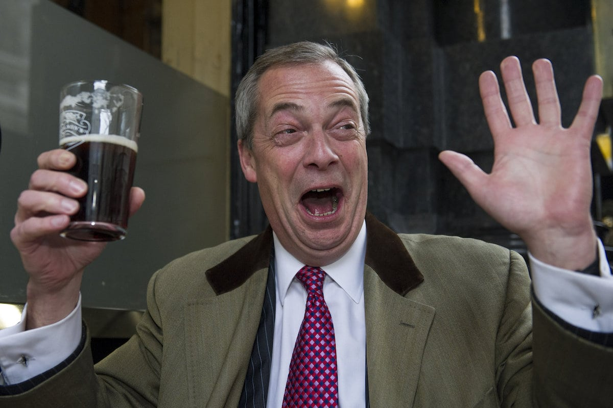 "Leader of the UK Independence Party, Nigel Farage, poses in the Feathers Pub, Westminster, London, January 08 2016. Nigel Farage has announced he is standing down as leader of the UK Independence Party. Mr Farage said his ""political ambition has been achieved"" with the UK having voted to leave the EU. He said the party was in a ""pretty good place"" and said he would not change his mind about quitting as he did after the 2015 general election."