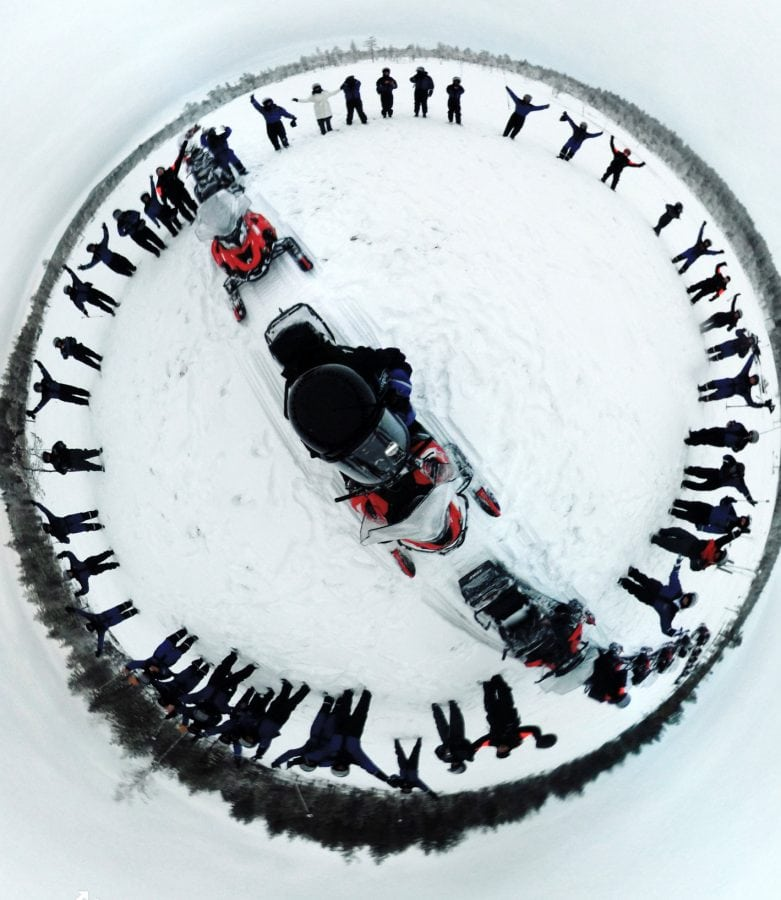 "One of Lee Thompson's 'Surroundies' on Flash Pack's snowmobile adventure in Finland.  See SWNS story SWSURROUND; A daredevil photographer who captured the ultimate selfie at the top of the Christ The Redeemer statue now plans to better it by taking a ""surroundie"". Lee Thompson, 34, has spent the last three months travelling around the world shooting incredible pictures on his Samsung's Gear 360. He has so far taken shots in Bolivia, Peru, India, Finland, and Sri Lanka as part of a marketing campaign for his company, Flash Pack. But the travel boss has his own wish list with top spot being taking a surroundie on top of the iconic Christ The Redeemer monument in Rio de Janeiro."