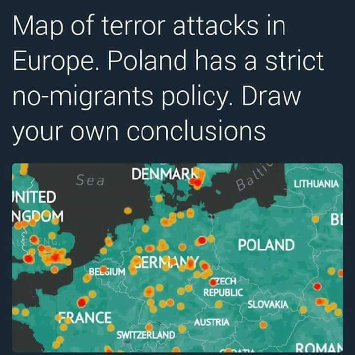 The Poland No Muslims No Terror Map Is Seriously Misleading - Map of terrorist attacks in us