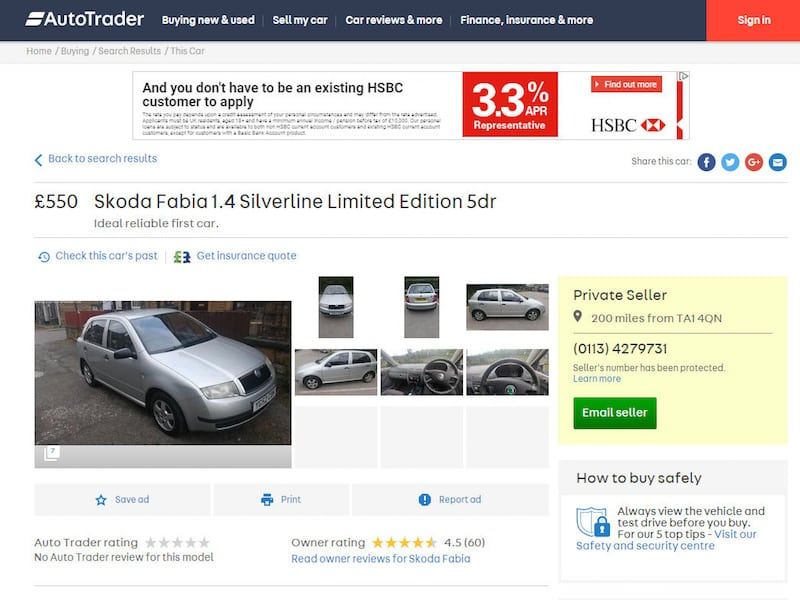 Man trying to sell Skoda Fabia on Auto Trader is inundated with ...