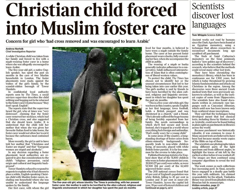 Tower Hamlets council under fire for fostering Christian girl with Muslims