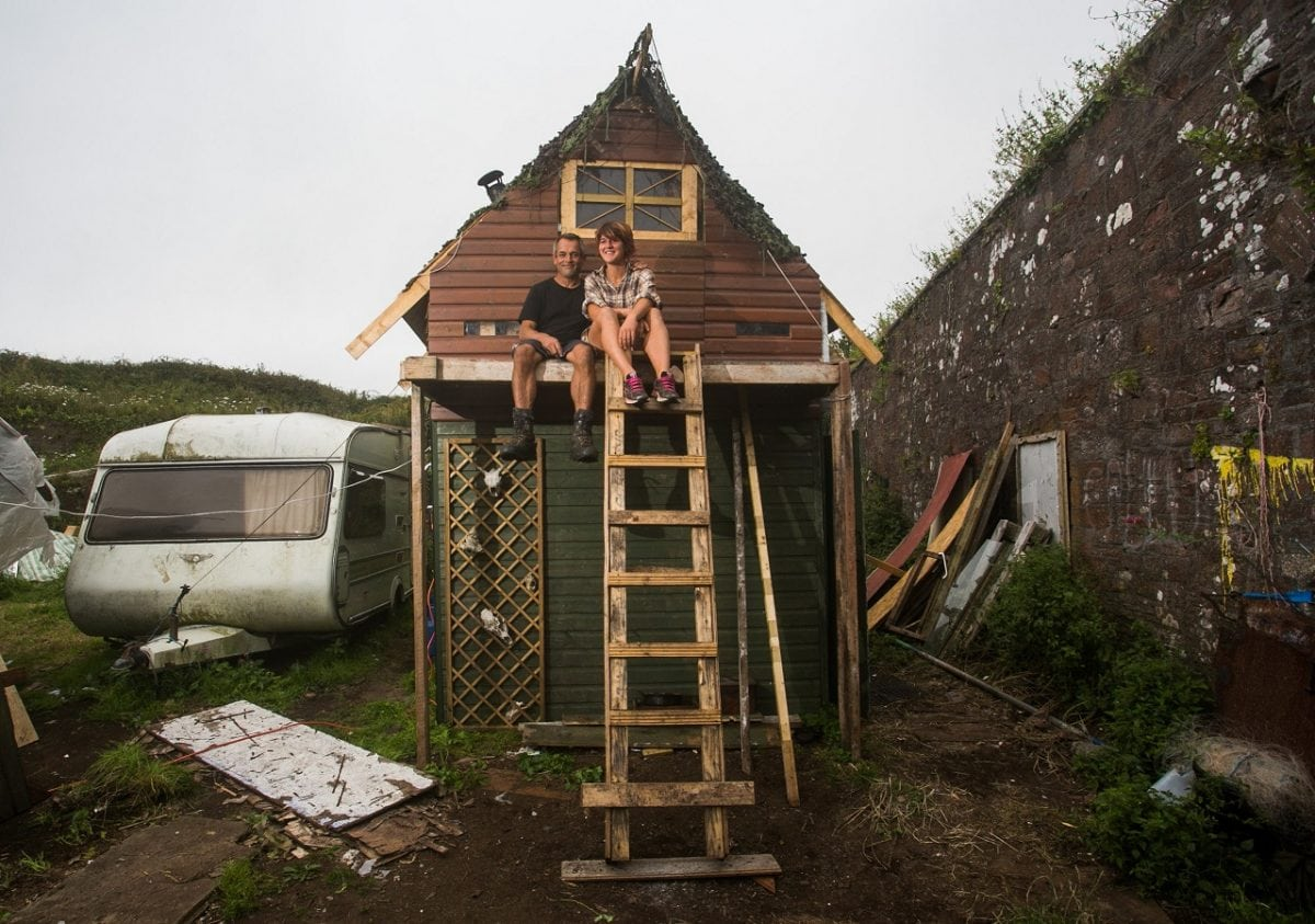 Couple spend just £1,200 a year living in off-grid hilltop coastal ...