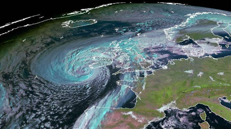 Storm Ophelia seen from the Meteosat satellite captured by the University of Dundee Satellite Receiving Station at 9:00 GMT November 16 2017, showing the size of the storm heading towards the UK.
