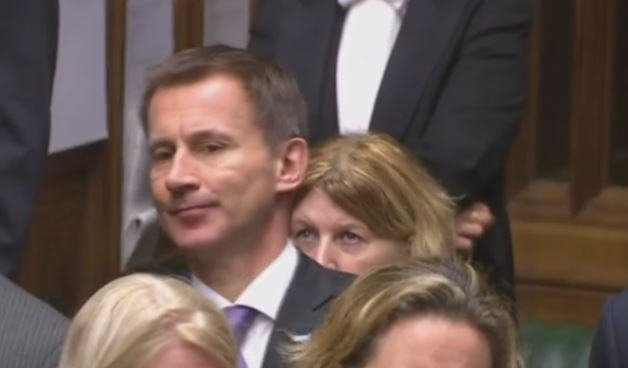 Jeremy Hunt shifts awkwardly at PMQs