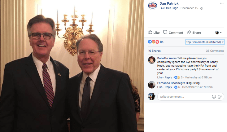 Dan Patrick with NRA's CEO Wayne LaPierre at Trump's Christmas White House party (c) Facebook