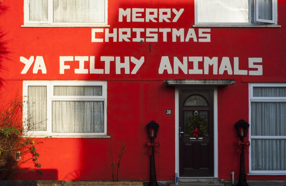 Family Spark Row With Festive Display Featuring Home Alone Quote   U0027Merry  Christmas Ya Filthy Animalsu0027