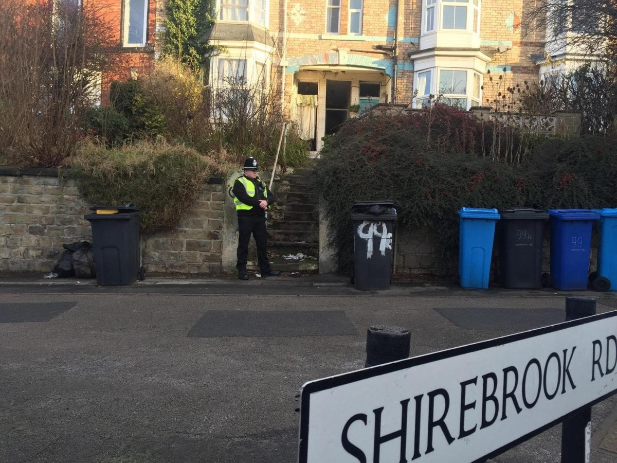 A house was raided in Shirebrook Road, Meersbrook, this morning. See Ross Parry story RPYBLAST; Four men have been arrested today (Tues) on suspicion of plotting terror attacks. The men, a 22-year-old, a 36-year-old and a 41-year-old all from Sheffield, South Yorks., and a 31-year-old from Chesterfield, Derbys., were each arrested at their own homes on suspicion of being concerned in the commission, preparation or instigation of acts of terrorism. One of the houses raided was in Shirebrook Road, Sheffield, where locals claim they heard an explosion at around 5.30am. Residents said police officers then arrived at the scene and carried out a search. The house is being guarded by police. Police confirmed all the properties are currently being searched. The men have been taken to a police station in West Yorkshire for questioning.