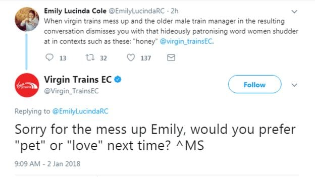 Virgin Trains East Coast apologise for 'sexist' tweet