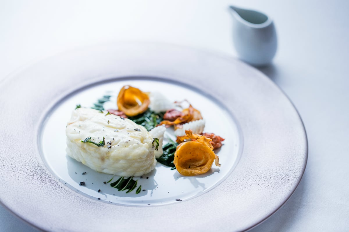 Alain Ducasse at The Dorchester's Fillet of turbot sea urchin and celeriac | Photo: P Monetta - best French restaurants in London