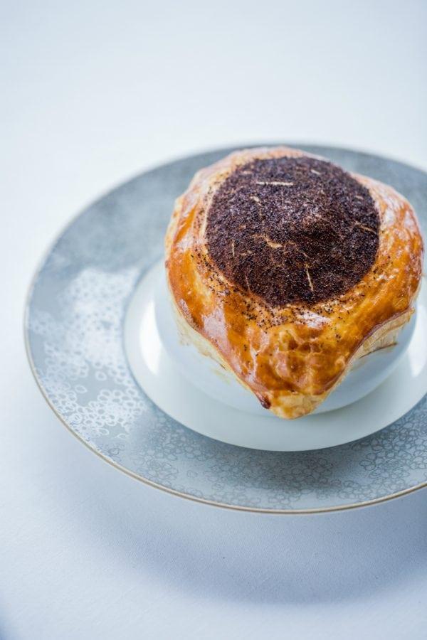 Alain Ducasse at The Dorchester 'V.G.E.' truffle soup | Photo: P Monetta
