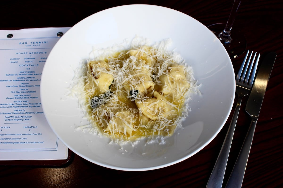 Fat Tony's Stracchino, ricotta and Parmigiano torteloni with sage butter.