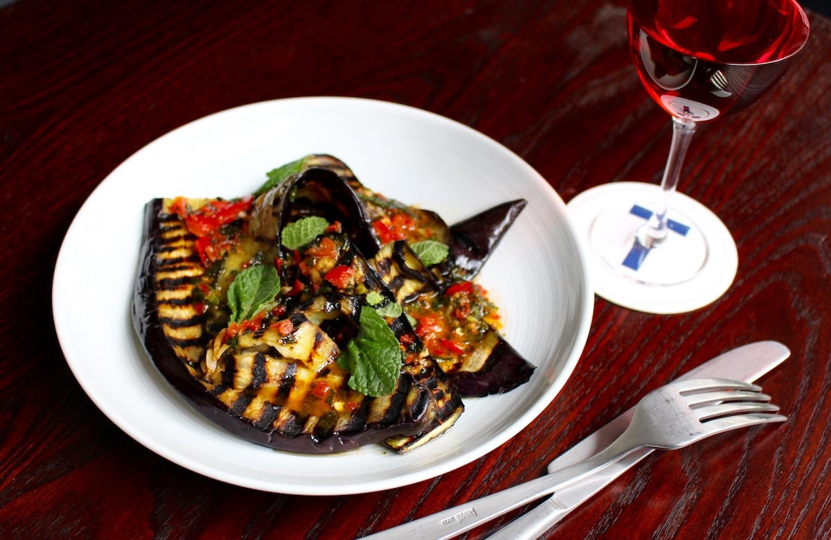 Fat Tony's chargrilled aubergine, mint, garlic and chilli.