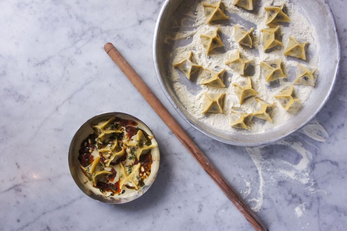 Kyseri beef and sour cherry manti