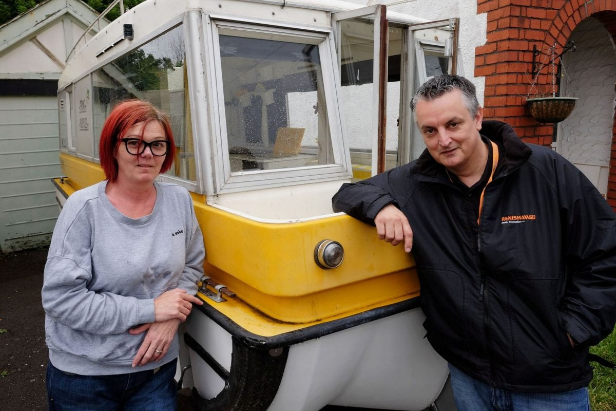 A couple have splashed out £600 on this long forgotten 1970s oddity which can travel on both land and water - called a Caraboat.  The bargain holiday home is one of just ten left in the world after all the moulds were smashed by a frustrated designer after a launch party.  Legend has it some of the Caraboats sank at the event and they were largely never seen again.