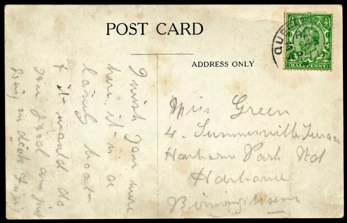 "A postcard written by a maid on the Titanic to a friend which said ""wish you were here"" is expected to fetch more than £20,000 at auction."