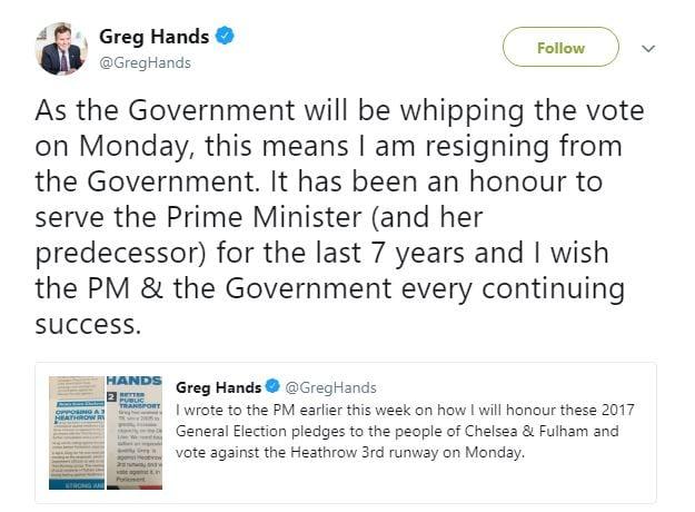 Greg Hands resigns (c) Twitter
