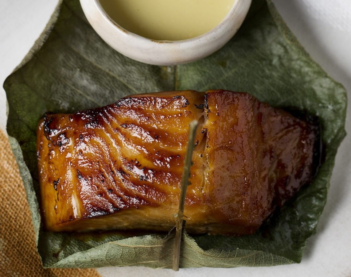 Zuma marinated black cod wrapped in hoba leaf.