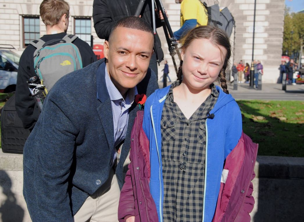 Clive Lewis, Greta Thurnberg at Westminster climate protest (c) Kay Michae l/ Extinction Rebellion