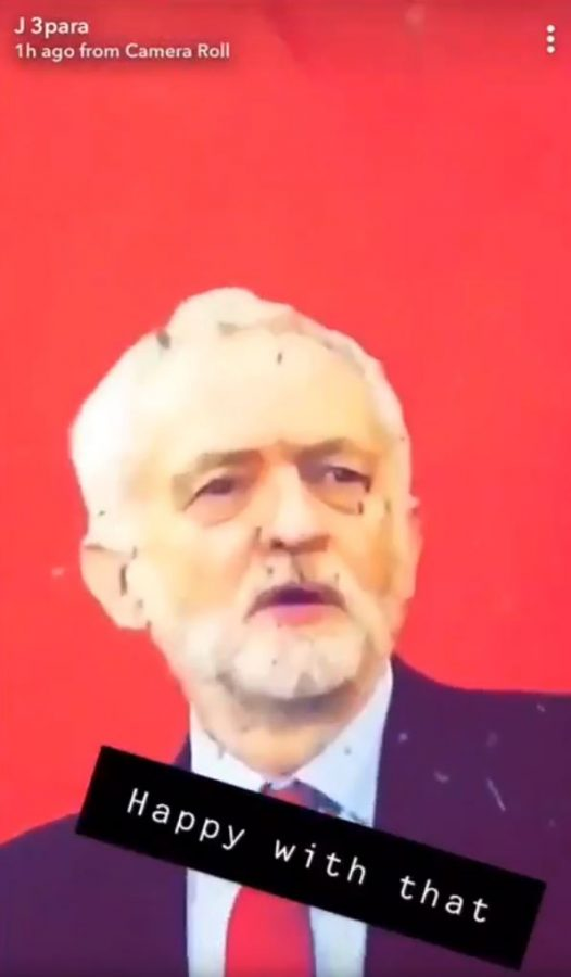 Sodliers shoot as image of Jeremy Corbyn (c) Snapchat/Twitter