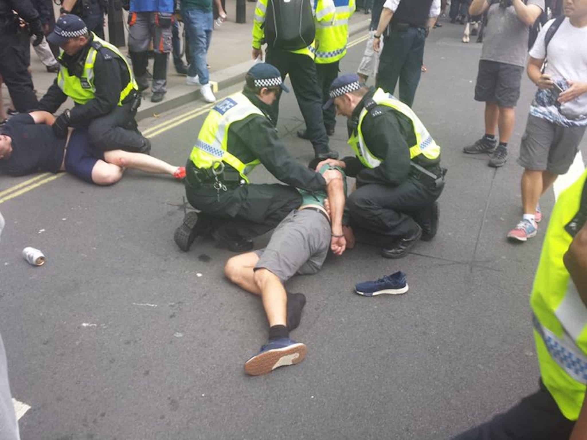 Police arrest Robinson supporters in Whitehall. (c) Chris Hobbs