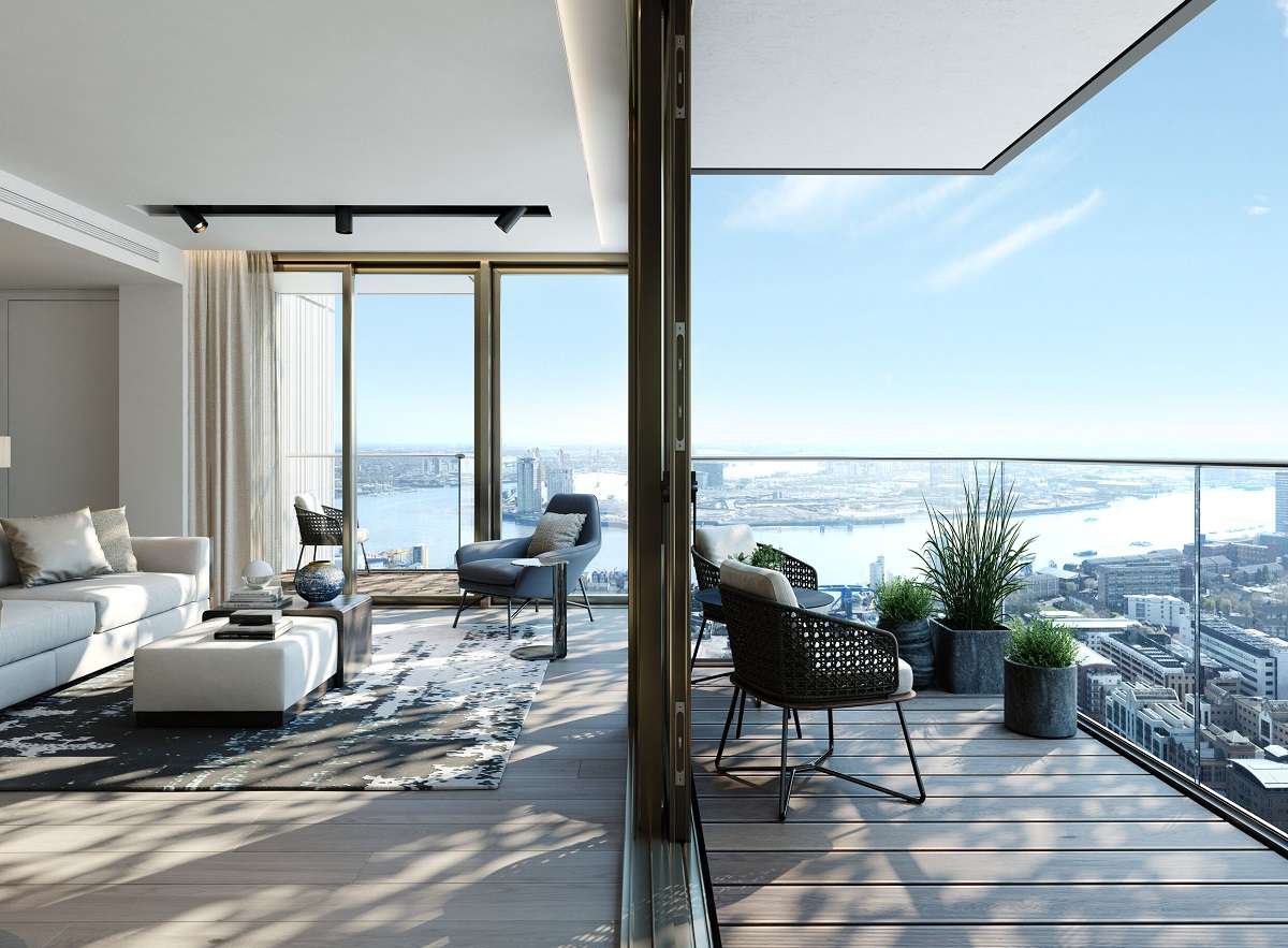 One Park Drive lounge and balcony with views over London.